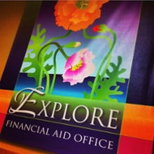 Financial Aid Office banner with flowers