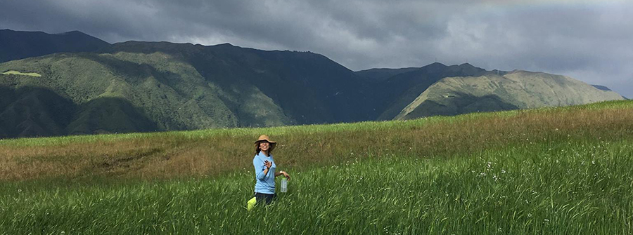 Student in field in front of Andes Mountains