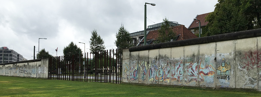 Berlin Wall with graffiti and opening